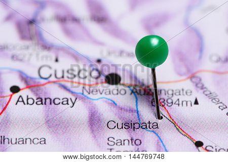 Cusipata pinned on a map of Peru