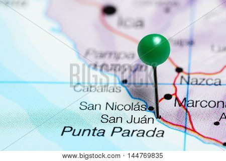 San Juan pinned on a map of Peru