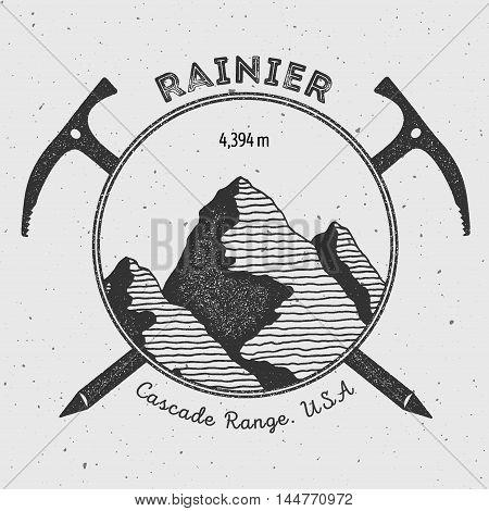 Rainier In Cascade Range, Usa Outdoor Adventure Logo. Climbing Mountain Vector Insignia. Climbing, T
