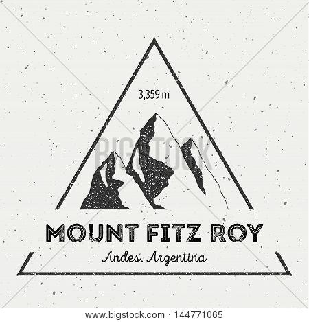 Fitz Roy In Andes, Chile Outdoor Adventure Logo. Triangular Mountain Vector Insignia. Climbing, Trek