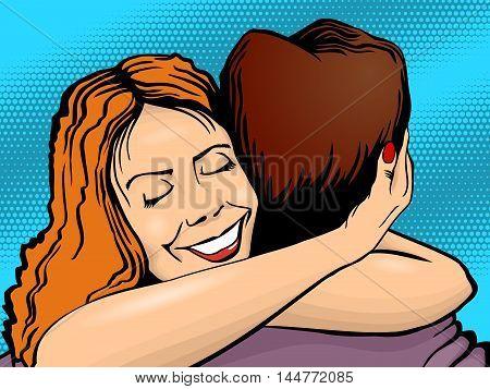 Embrace men and women pop art style retro. Vector illustration