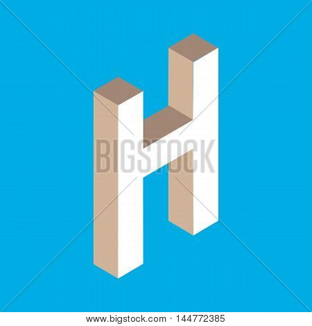 3d isometric letter h. typography for headlines, posters etc.