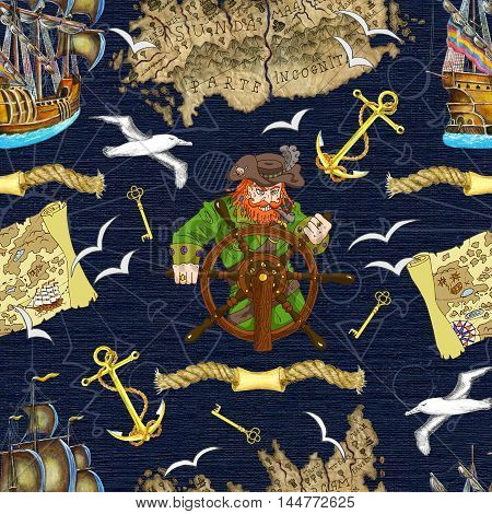 Seamless background with pirate captain looking for treasures. Sea doodle illustration with vintage transportation and marine emblems, hand drawn repeated drawing with map, ship, anchor and birds