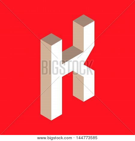 3d isometric letter k. typography for headlines, posters etc.