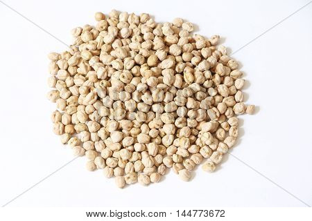 Raw chickpeas or kacang kuda on white isolated background