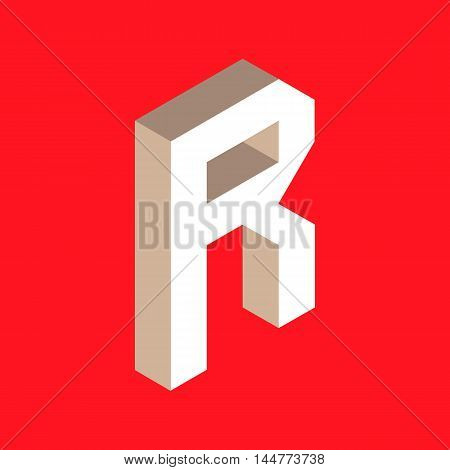 3d isometric letter r. typography for headlines, posters etc.
