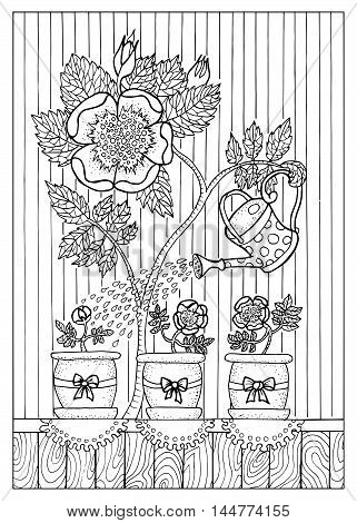 Black and white hand drawn illustration with rose mother pouring her plant kids in cute pots. Graphic page for coloring book for adults and kids, doodle line art