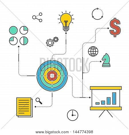 Business strategy workflow process flat design infographic concept design elements