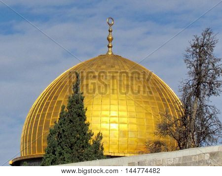 Gold Dome of Rock Mosque in the old city of Jerusalem Israel