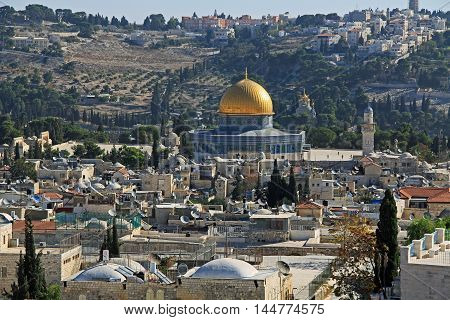 View of the city of Jerusalem, Temple Mount and Dome of the Rock from the top of the Jerusalem Citadel or Tower of David.