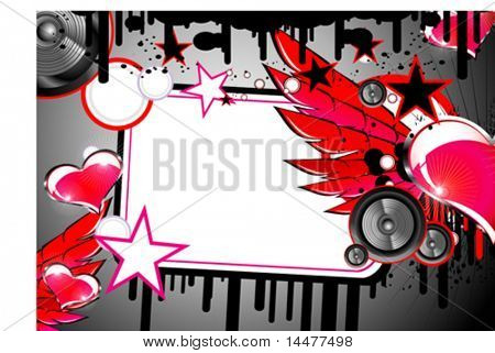 VECTOR love and music them frame.