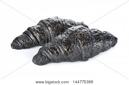 healthy Charcoal croissant on a white background