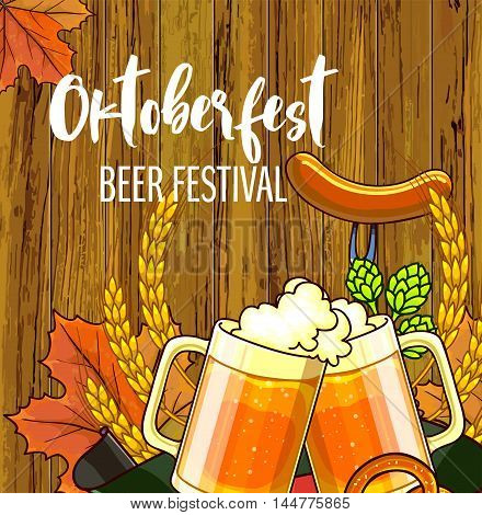 Octoberfest festival cartoon design with glass of beer, ears lettering card on wooden background. Vector Illustration.