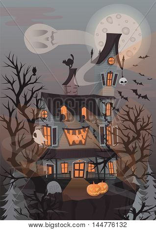Halloween vector illustration with scary house, ghosts and pumpkin. Background with haunted house to dark night. Horror and creepy landscape.