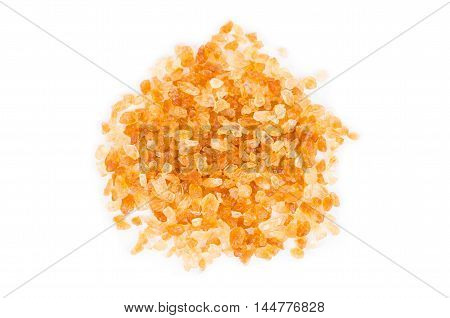 cane sugar - granulated sugar on white background.