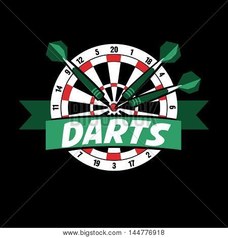 Darts label. Badge Logo sporting symbols. Darts, dartboard, ribbon for sport, sporting logo and leisure design. Vector Illustration.