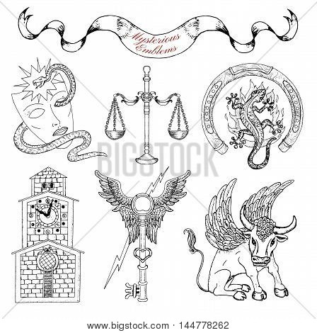 Graphic set with mystic symbols and emblems isolated. Line art vector illustrations of engraved signs and emblems. Doodle fantasy drawings and hand drawn sketches