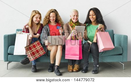 Women Femininity Shopping Online Happiness Concept