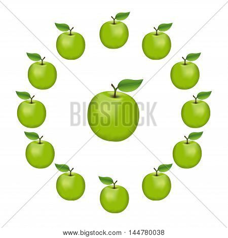 Apples in a wheel, Granny Smith, fresh, natural, ripe, orchard garden fruit in a circle, isolated on a white background.