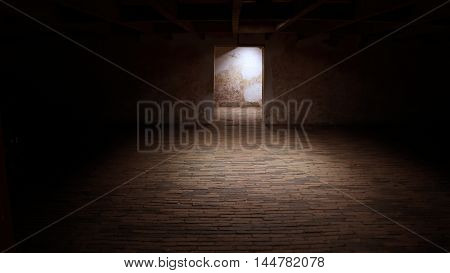 empty basement in abandoned old industrial building with little light