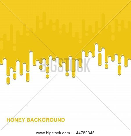 Vector flat background. Dripping honey backdrop. Colorful design illustration. Paint illustration