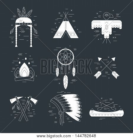 Native american vector elements concept black and white. Tribal line design. Indian symbol set isolated. Dreamcatcher arrow hut bonnet hatchet canoe eagle fireplace woman headdress