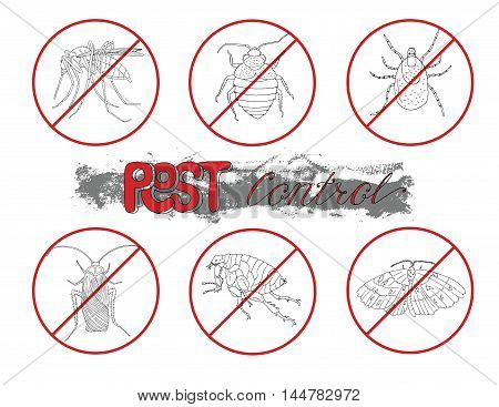 Set with hand drawn bloodsucking insects in red prohibition sign. Pest control concept. Doodle line art illustration and graphic sketch, invaders vector with icons of animals