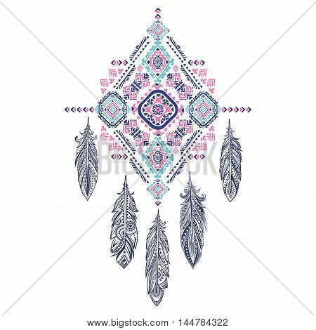 Vector Aztec Mexican Tribal Ornament Dream Catcher African Ethnic Tattoo Design Could