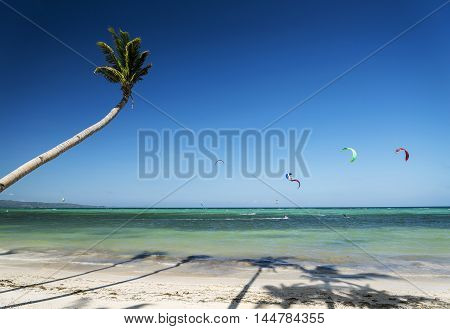 famous bolabog kite surfing beach in exotic tropical paradise boracay island philippines