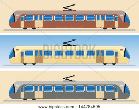 Side View Of Tram Car Or Trolley Car