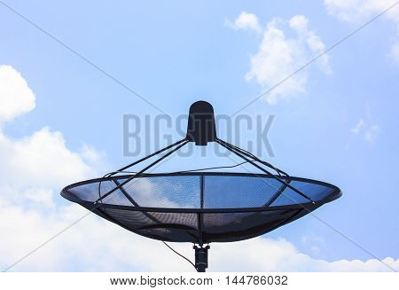 Satellite dish on the roof apply design and background.