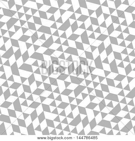 Geometric pattern with silver and white triangles. Seamless abstract background