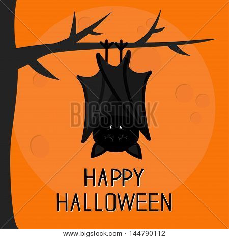 Happy Halloween card. Cute sleeping bat hanging on tree. Closed wings. Cartoon character. Baby illustration collection. Flat design. Orange background with big moon. Vector illustration
