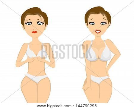 girl before and after breast augmentation on white background