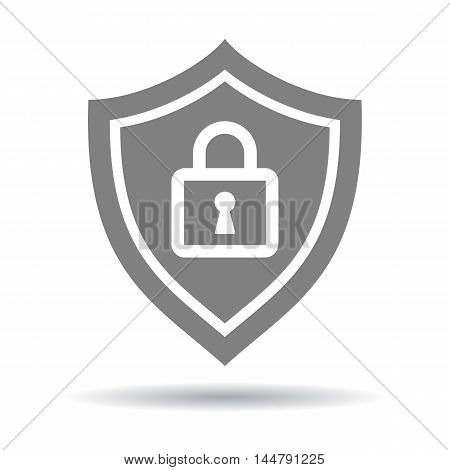 Shield lock protection. Concept of supply, insurance and safety. Isolated grey shield with lock icon on white background.