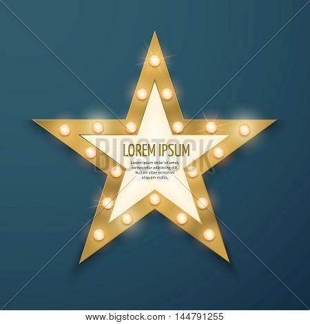 Retro gold star light vintage frame, banner. retro movie vector illustration