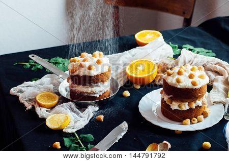 Raspberry Cupcake. Closeup Of A Cream Cake Covered With Raspberr
