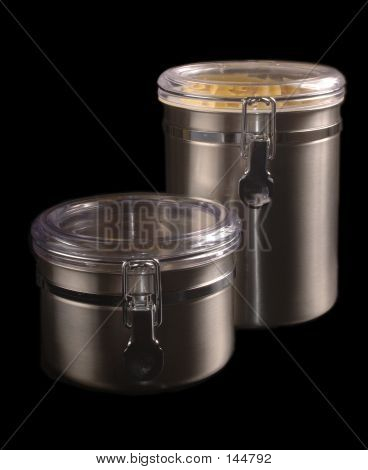 Two Stainless Steel Kitchen Containers