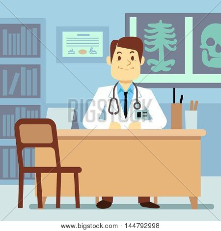 Doctor sitting at the table in medical vector healthcare concept. Character professional physician on workplace illustration