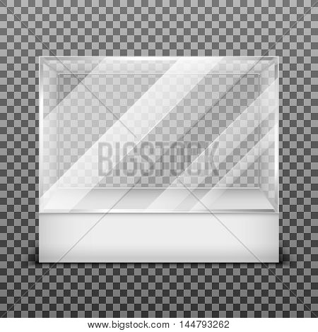Transparent display glass box isolated on checkered background. Empty container for exhibition in gallery, vector illustration