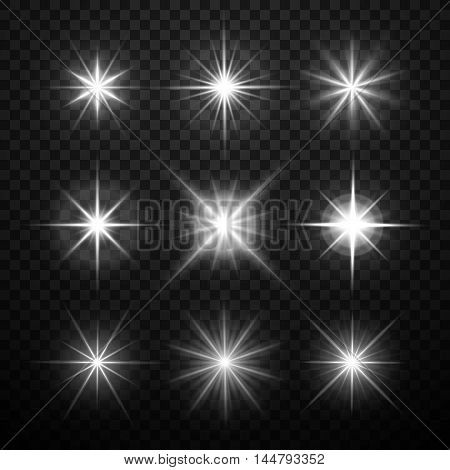 Glowing light effects, stars bursts with sparkles isolated on transparent checkered background. Vector illustration