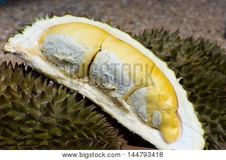 Fresh durian recenlty cut and ready for serving.