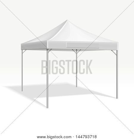 Mobile marquee tent for trade show. Vector mockup protection roof form sun and rain illustration