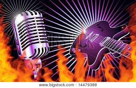 Retro microphone and guitar with Fire flames