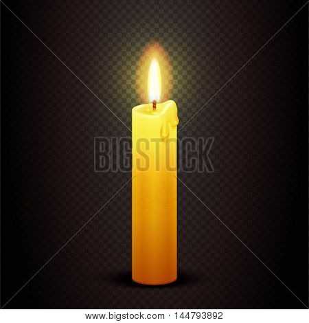 Vector candle with flame on transparent checkered dark background, candlelight christmas and birthday card template. Christian symbolic illustration