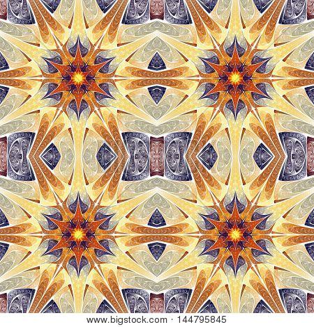 Abstract seamless flower pattern on white background. Symmetrical ornament in beige deep blue orange and yellow colors. Fantasy fractal design for postcards wallpapers or clothes.