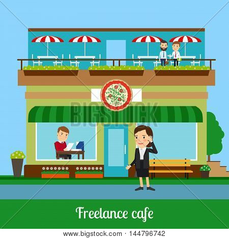 Freelance cafe with working people. Vector illustration