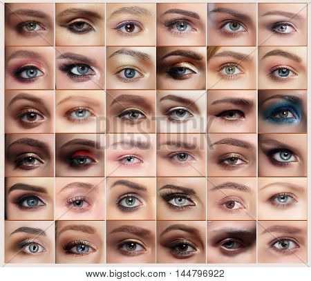 Collage of 36 closeup eyes images of women with makeups. Eyebrow.