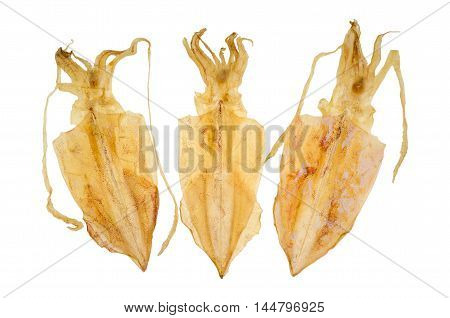close up of dried squid isolate on white background.