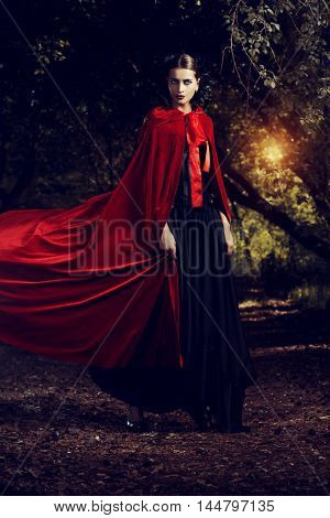 Beautiful brunette woman in black old-fashioned dress and red cloak walking in the thicket of the magic forest. Gothic style. Fashion. poster